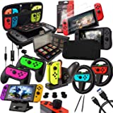 Switch Accessories Bundle - Orzly Geek Pack for Nintendo Switch : Case & Screen Protector, Joycon Grips & Racing Wheel, Switch Tablet & Controller Charge Docks & More [15in1]