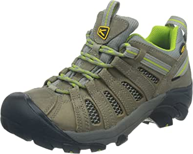 KEEN Women's Voyageur Hiking Shoe,Neutral Gray/Lime Green,10 M US