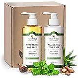 Tree to Tub 出品的无硫酸盐洗发水和护发素 | * pH 5.5 平衡双层使用野生肥皂浆和*摩洛哥坚果油 | 适合敏感、油或干性*和*