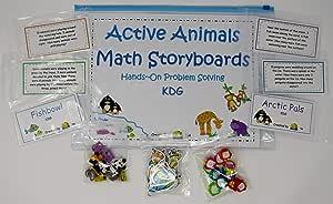 K-3 Climbers 活跃动物数学故事板 手动 解决问题 幼儿园