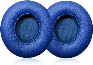 *海绵蛋白质皮革耳垫耳塞垫替换耳垫适用于Beats Solo 2.0/3.0 无线,不适合单人 2.0 有线Beats Solo 2 Wireless earpads-Blue