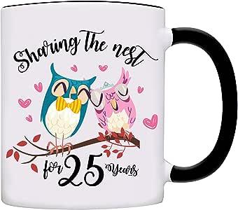 Sharing The Nest 25 岁,幸福已婚夫妇纪念日咖啡杯 黑色 11 盎司 MUG-0124-Black