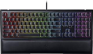 Razer Ornata V2 游戏键盘:混合机械按键开关 - 可定制的 Chroma RGB 照明 - 单独背光按键 - 可拆卸毛绒腕托 - 可编程微距