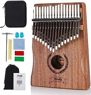Mugig Kalimba 17把钥匙带曲锤,EVA保护盒和说明书,便携式拇指钢琴Mbira Sanza 红木身体矿石金属锡,木手指钢琴儿童成人初学者