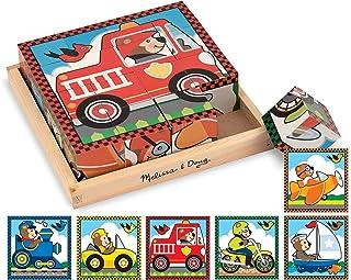 Melissa & Doug 汽车木制方块拼图 带托盘-六合一拼图(16块)