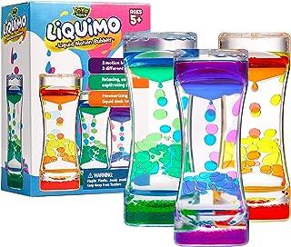 YoYa Toys Liquimo - Liquid Motion Bubbler 儿童和成人[3 件装] - 沙漏液体气泡/计时器感官游戏,Fidget 玩具和压力管理 - 酷炫桌面装饰