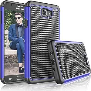 Tekcoo Galaxy J7 Sky Pro 手机壳,适用于 Galaxy J7 Prime/J7 V/J7V/J7 Perx 女孩手机壳,[Tmajor] 减震橡胶塑料防刮防摔保护壳硬质保护套适用于三星 J7 20174326740213 蓝色/黑色