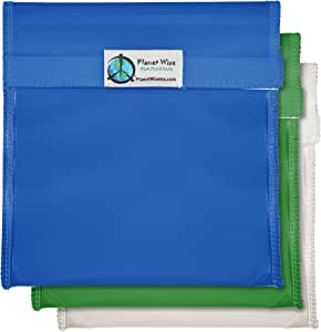 PLANET Wise 可重复使用三明治和零食包 蓝色/绿色 3 Pack Quart - Hook and Loop