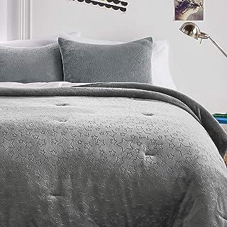 Dream FACTORY 星星毛绒被套装,单人床,灰色