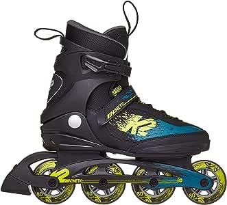 K2 Skate 男式 Kinetic 80 直排溜冰鞋,黑绿黄色,5
