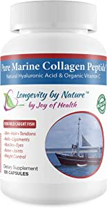 Joy of Health Pure Marine Collagen Peptide Capsules with Natural Rooster Comb Hyaluronic Acid & Organic Vitamin C