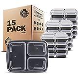 Freshware 带盖三格便当饭盒,15个装-可堆叠,重复使用,安全用于微波炉,洗碗机和冰箱,分量控制,21天储存食品的容器(0.9升)