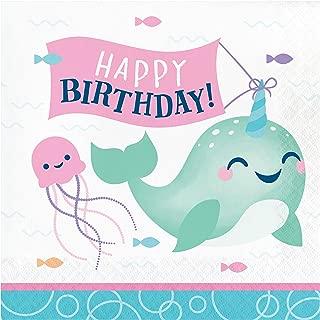 独角鲸派对生日快乐餐巾纸,48 片