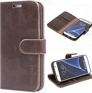 三星 Galaxy S7 手机壳,Mulbess 皮革手机壳,翻盖对开书包,钱袋钱包式手机套,适用于三星 Galaxy S7 手机,黑色 咖啡棕色