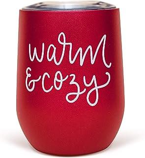 Sweet Water Decor 温暖舒适的金属酒杯 | 12 盎司(约 340.2 克)不锈钢隔热无柄酒杯 带盖子 | 可爱酒杯带有趣的谚语,适合女性,圣诞节,假期,冬季,圣诞节