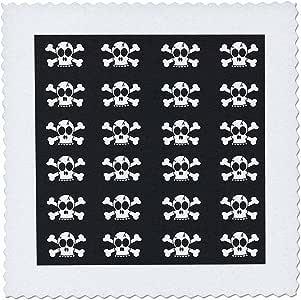 janna salak 设计哥特式–骷髅画灰色印花–方块拼布