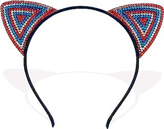 红白蓝爱国美国宝石猫耳朵头巾 7 月 4 日纪念日纪念日配饰