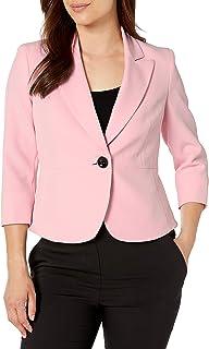 Kasper 女士娇小弹力绉纱单扣夹克,带尖领