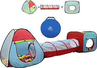 Kiddey 儿童带隧道的双玩帐篷(3 件套) - 适合男孩和女孩的室内/室外游乐场 - 重量轻,易于安装 3 Pc. Tent