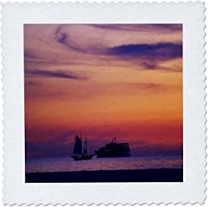 """3dRose qs_80777_1 2 Ships Pass in the Nite Off Ft Myers Beach Florida Quilt Square, 10 by 10"""""""