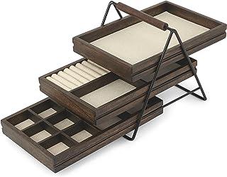 Umbra Terrace 珠宝托盘 - 三层珠宝托盘 带三个滑动亚麻内衬木质托盘带金属框架和手柄,易于存放和取用,黑色/胡桃木饰面