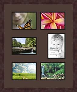 Art to Frames 双倍多衬垫-772-776/89-FRBW26061 拼贴框架照片垫双衬垫带 15.24-12.7 x 17.78 cm 开口和咖啡色相框