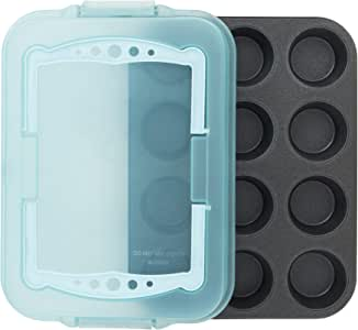 ProBake Teflon Platinum Non-Stick 12-Cup Muffin Pan with Matching Angel Blue Cover and Handles