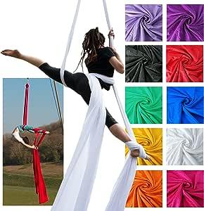 Firetoys 专业空中丝绸织物/组织,中号弹力丝绸 WLL 282lbs (128kg) * 46' (14m) B078W8BXXK