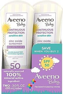 Aveeno 艾惟诺 婴儿 Continuous Protection 氧化锌矿物防晒乳液,广谱SPF 50,3液体盎司/88毫升(2件)