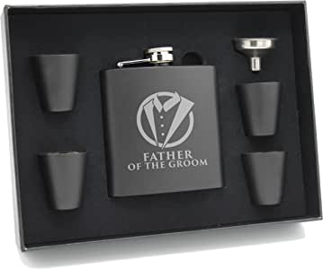 My Personal Memories 燕尾服黑色*瓶,适合新郎,Best Man,新郎 黑色 Father of the Groom, 6oz Flask with Gift Set MPM0369F