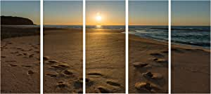 """悉尼 Seashore at Sunrise Seascape 帆布画 蓝色 60x28"""" - 5 Equal Panels PT9850-401"""