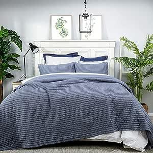 Elegant Life 棉条纹十字绣床上用品被和枕套 条纹蓝 Standard Sham
