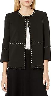 Kasper 女士褶皱圆领夹克,带饰边细节