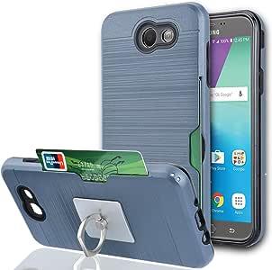 Galaxy J7 V 手机壳,Galaxy J7 Sky Pro/J7 Perx/J7V 2017 手机壳带手机支架,Ymhxcy [信用卡插槽夹][拉丝纹理]双层防震保护套,适用于 Galaxy J7 2017 - LCK- Metal Slate