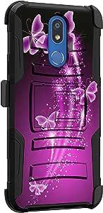 MINITURTLE 兼容 LG K40、LG K12 Plus、LG X4 (2019) 防震坚固双层手机壳支架手机皮套夹【夹臂】K40 紫色蝴蝶