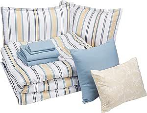 AmazonBasics 亚马逊倍思 8 件套 Bed-in-a-bag - 柔软易洗超细纤维 Blue and Tan Stripe King BIAB3-BTS-KG