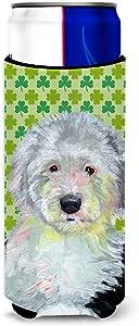 Old English Sheepdog St. Patrick's Day Shamrock Portrait Michelob Ultra Koozies for slim cans LH9216MUK 多色 Slim