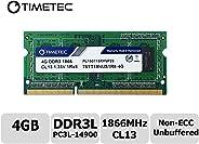 Timetec Hynix IC 适用于 Synology NAS DiskStation/RackStation DDR3/DDR3L 1600MHz PC3L-12800 1.35V 非 ECC 无缓冲 204 针 SODIMM 内存 RAM * 1866MHz 4GB