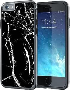 iPhone 6 6s Plus 5.5 英寸手机套,真实颜色 [宝石纹理系列] 超薄混合硬背 + 柔软 TPU 缓冲保护耐用【真实保护系列】iPhone 6 / 6s Plus 5.5 英寸XRCL555-558 黑色大理石