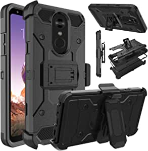 LG Stylo 4 手机壳,LG Stylus 4 手机壳,LG Q Stylo 手机壳,Venoro 重型装甲防震保护壳带旋转夹和支架适用于 LG Stylo 4+/LG Q Stylo +/LG Stylo 4 Plus 黑色