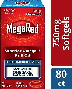 Megared 750mg 超浓缩Omega-3 磷虾油,不返鱼腥味,80粒软胶囊
