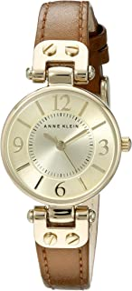 Anne Klein 109443WTRD 女士手表,带红色人造皮革表带