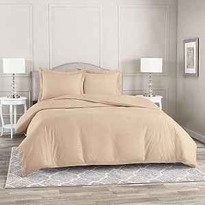 Nestl Bedding 3 件套夹褶羽绒被套套装   被套带 2 个枕套   超细纤维羽绒被套套装 Striped Taupe 两个 nb-DC-dmsk-q-wht-FBA-MX