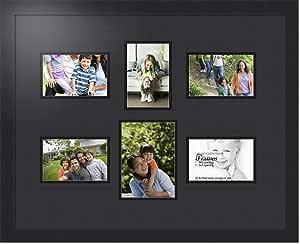 ArtToFrames 拼贴照片框双垫,带 6 个开口和黑色缎框。 黑色 1-5x7 and 5-4x6 Double-Multimat-364-89/89-FRBW26079