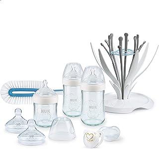 NUK Nature Sense 玻璃奶瓶套装(120ml* 240ml*2)0-6个月 含瓶刷和晾干架 不含 BPA 白色