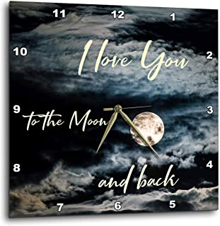 3dRose Alexis 设计 - Love - 夜空,满月,云朵,I Love You to The Moon and Back - 挂钟 白色 15x15 Wall Clock dpp_294074_3