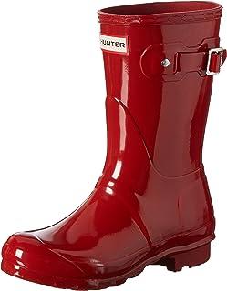 Hunter 女式原创短款光泽雨靴 Military Red 10 B(M) US