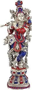 印度女神女主教 Gopala Krishna Murti 黄铜镶嵌雕像/神圣的爱心神 Flute Playing Sculpture Idol/印*安装饰谢里·克里什娜·尤利亚小熊维亚雕像 Silver Blue Red VZJ428
