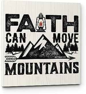 "Emin 装饰盐 Faith Can Move Mountains 11""W x 11""H"