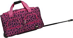 Rockland Luggage 22 英寸滚动行李袋 洋红色豹纹 均码